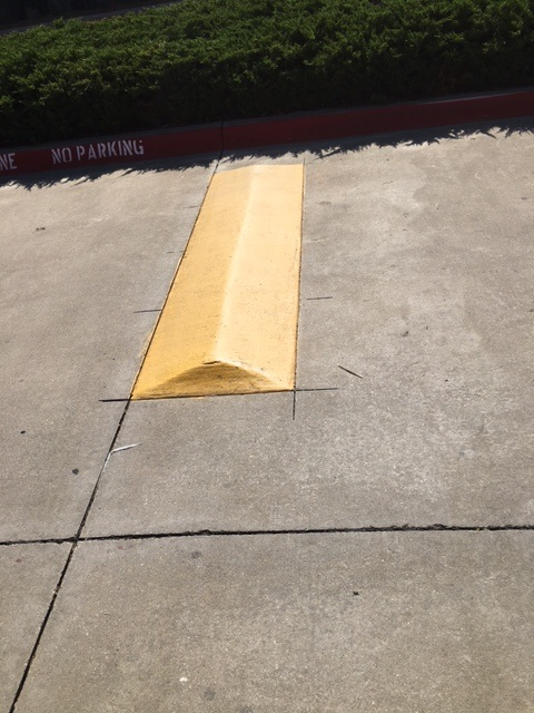 Lockhart Texas Speed Bump At Apartment Complex Painted Yellow